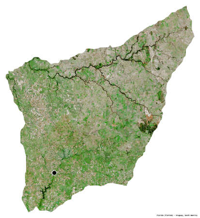 Shape of Florida, department of Uruguay, with its capital isolated on white background. Satellite imagery. 3D rendering