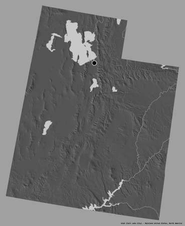 Shape of Utah, state of Mainland United States, with its capital isolated on a solid color background. Bilevel elevation map. 3D rendering Stock Photo
