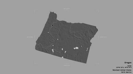 Area of Oregon, state of Mainland United States, isolated on a solid background in a georeferenced bounding box. Labels. Bilevel elevation map. 3D rendering