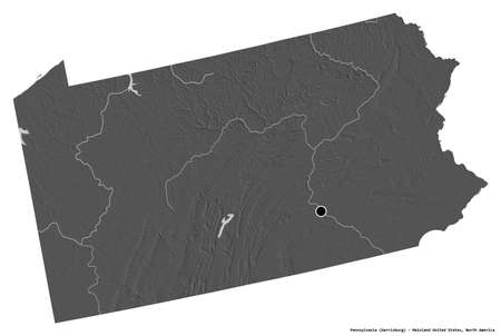 Shape of Pennsylvania, state of Mainland United States, with its capital isolated on white background. Bilevel elevation map. 3D rendering Reklamní fotografie