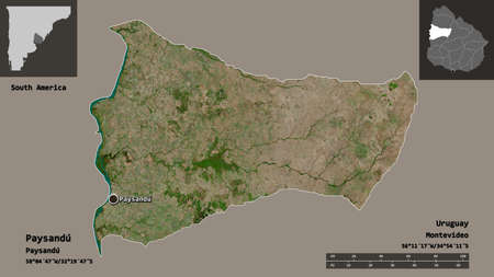 Shape of Paysandú, department of Uruguay, and its capital. Distance scale, previews and labels. Satellite imagery. 3D rendering