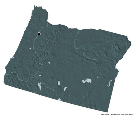 Shape of Oregon, state of Mainland United States, with its capital isolated on white background. Colored elevation map. 3D rendering