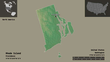 Shape of Rhode Island, state of Mainland United States, and its capital. Distance scale, previews and labels. Topographic relief map. 3D rendering