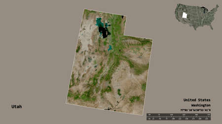 Shape of Utah, state of Mainland United States, with its capital isolated on solid background. Distance scale, region preview and labels. Satellite imagery. 3D rendering