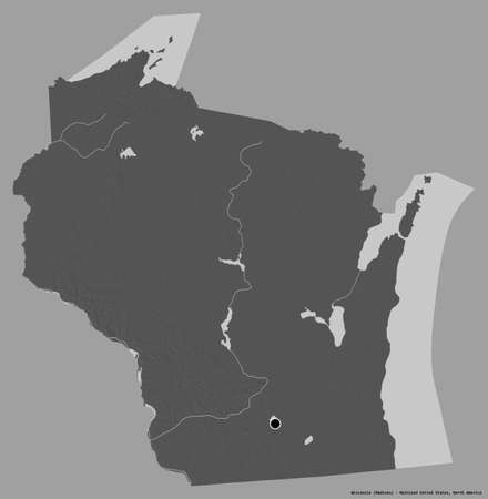 Shape of Wisconsin, state of Mainland United States, with its capital isolated on a solid color background. Bilevel elevation map. 3D rendering