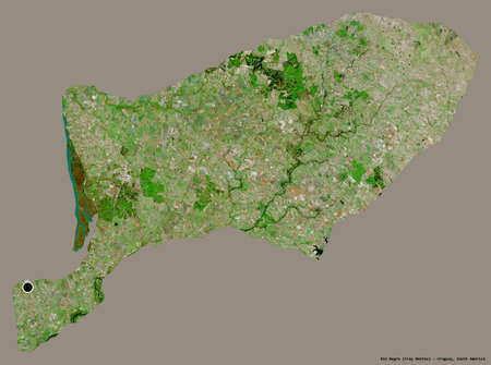 Shape of Río Negro, department of Uruguay, with its capital isolated on a solid color background. Satellite imagery. 3D rendering