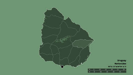 Desaturated shape of Uruguay with its capital, main regional division and the separated Treinta y Tres area. Labels. Colored elevation map. 3D rendering