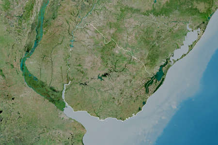 Extended area of outlined Uruguay. Satellite imagery. 3D rendering