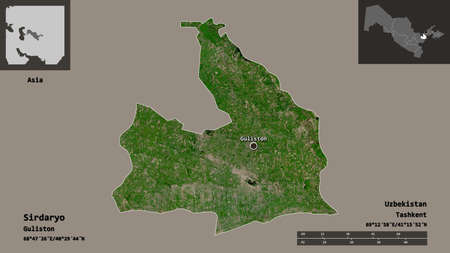 Shape of Sirdaryo, region of Uzbekistan, and its capital. Distance scale, previews and labels. Satellite imagery. 3D rendering