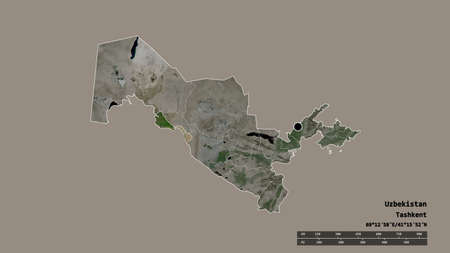 Desaturated shape of Uzbekistan with its capital, main regional division and the separated Khorezm area. Labels. Satellite imagery. 3D rendering