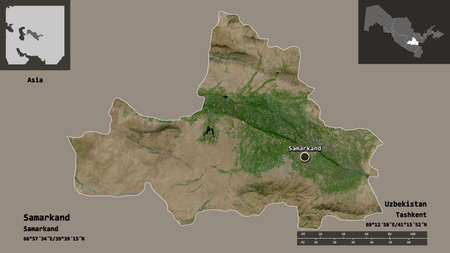 Shape of Samarkand, region of Uzbekistan, and its capital. Distance scale, previews and labels. Satellite imagery. 3D rendering