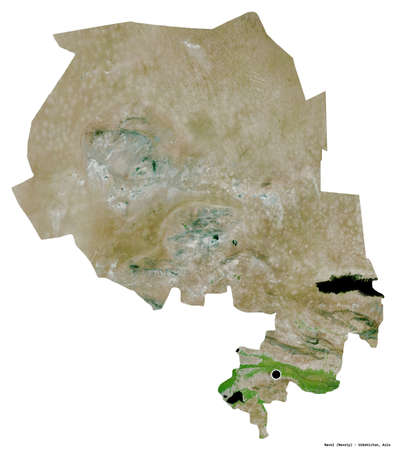 Shape of Navoi, region of Uzbekistan, with its capital isolated on white background. Satellite imagery. 3D rendering