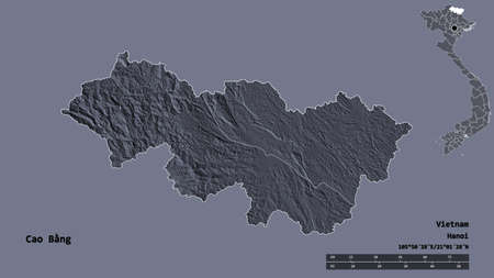 Shape of Cao Bằng, province of Vietnam, with its capital isolated on solid background. Distance scale, region preview and labels. Colored elevation map. 3D rendering