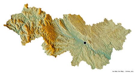 Shape of Cao Bằng, province of Vietnam, with its capital isolated on white background. Topographic relief map. 3D rendering Banque d'images