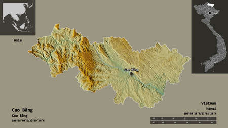 Shape of Cao Bằng, province of Vietnam, and its capital. Distance scale, previews and labels. Topographic relief map. 3D rendering