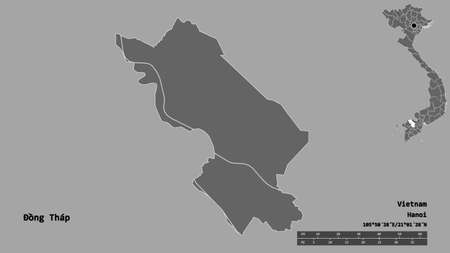Shape of �ồng Tháp, province of Vietnam, with its capital isolated on solid background. Distance scale, region preview and labels. Bilevel elevation map. 3D rendering