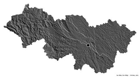 Shape of Cao Bằng, province of Vietnam, with its capital isolated on white background. Bilevel elevation map. 3D rendering
