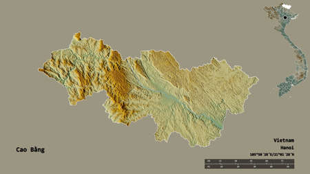 Shape of Cao Bằng, province of Vietnam, with its capital isolated on solid background. Distance scale, region preview and labels. Topographic relief map. 3D rendering Banque d'images