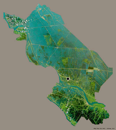Shape of �ồng Tháp, province of Vietnam, with its capital isolated on a solid color background. Satellite imagery. 3D rendering