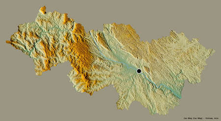 Shape of Cao Bằng, province of Vietnam, with its capital isolated on a solid color background. Topographic relief map. 3D rendering Banque d'images