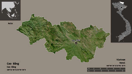 Shape of Cao Bằng, province of Vietnam, and its capital. Distance scale, previews and labels. Satellite imagery. 3D rendering