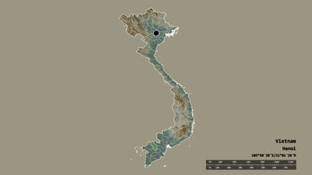 Desaturated shape of Vietnam with its capital, main regional division and the separated �ồng Tháp area. Labels. Topographic relief map. 3D rendering
