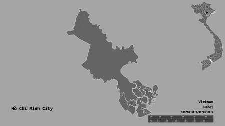 Shape of Hồ Chí Minh City, city of Vietnam, with its capital isolated on solid background. Distance scale, region preview and labels. Bilevel elevation map. 3D rendering