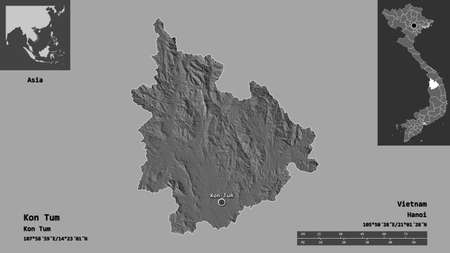 Shape of Kon Tum, province of Vietnam, and its capital. Distance scale, previews and labels. Bilevel elevation map. 3D rendering