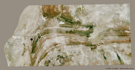 Shape of Es Semara, province of Western Sahara, with its capital isolated on a solid color background. Satellite imagery. 3D rendering
