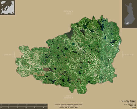 Tavastia Proper, region of Finland. Sentinel-2 satellite imagery. Shape isolated on solid background with informative overlays. Contains modified Copernicus Sentinel data