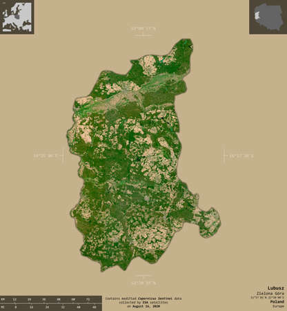 Lubusz, voivodeship of Poland. Sentinel-2 satellite imagery. Shape isolated on solid background with informative overlays. Contains modified Copernicus Sentinel data