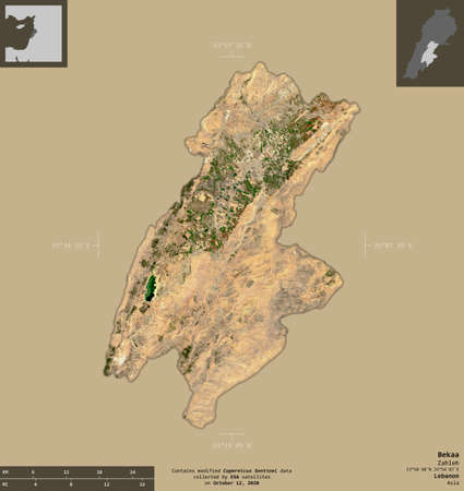 Bekaa, governorate of Lebanon. Sentinel-2 satellite imagery. Shape isolated on solid background with informative overlays. Contains modified Copernicus Sentinel data
