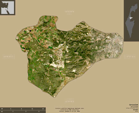 Jerusalem, district of Israel. Sentinel-2 satellite imagery. Shape isolated on solid background with informative overlays. Contains modified Copernicus Sentinel data Banco de Imagens
