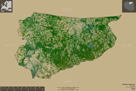 Warmian-Masurian, voivodeship of Poland. Sentinel-2 satellite imagery. Shape isolated on solid background with informative overlays. Contains modified Copernicus Sentinel data Archivio Fotografico