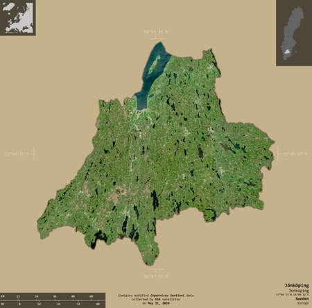 Jonkoping, county of Sweden. Sentinel-2 satellite imagery. Shape isolated on solid background with informative overlays. Contains modified Copernicus Sentinel data