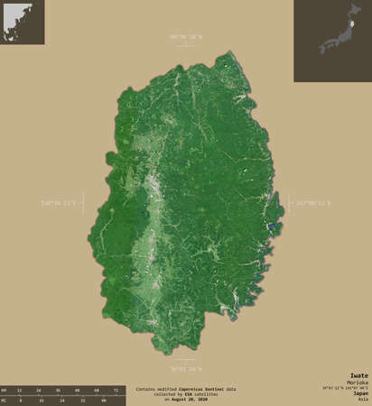 Iwate, prefecture of Japan. Sentinel-2 satellite imagery. Shape isolated on solid background with informative overlays. Contains modified Copernicus Sentinel data Archivio Fotografico