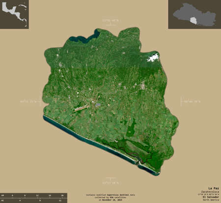 La Paz, department of El Salvador. Sentinel-2 satellite imagery. Shape isolated on solid background with informative overlays. Contains modified Copernicus Sentinel data