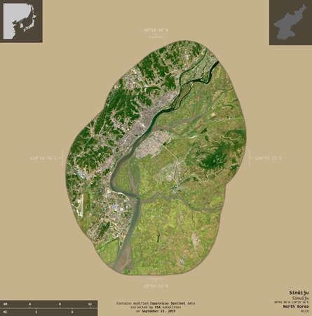 Sinuiju, special administrative region of North Korea. Sentinel-2 satellite imagery. Shape isolated on solid background with informative overlays. Contains modified Copernicus Sentinel data