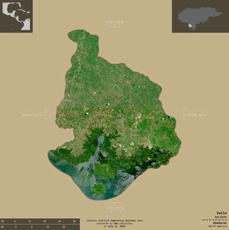 Valle, department of Honduras. Sentinel-2 satellite imagery. Shape isolated on solid background with informative overlays. Contains modified Copernicus Sentinel data