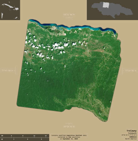 Trelawny, parish of Jamaica. Sentinel-2 satellite imagery. Shape isolated on solid background with informative overlays. Contains modified Copernicus Sentinel data Archivio Fotografico