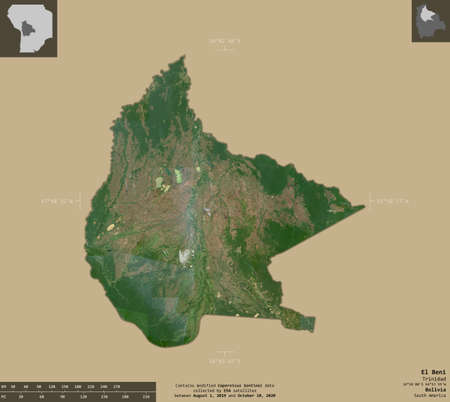 El Beni, department of Bolivia. Sentinel-2 satellite imagery. Shape isolated on solid background with informative overlays. Contains modified Copernicus Sentinel data Archivio Fotografico