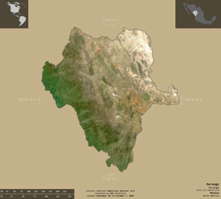 Durango, state of Mexico. Sentinel-2 satellite imagery. Shape isolated on solid background with informative overlays. Contains modified Copernicus Sentinel data