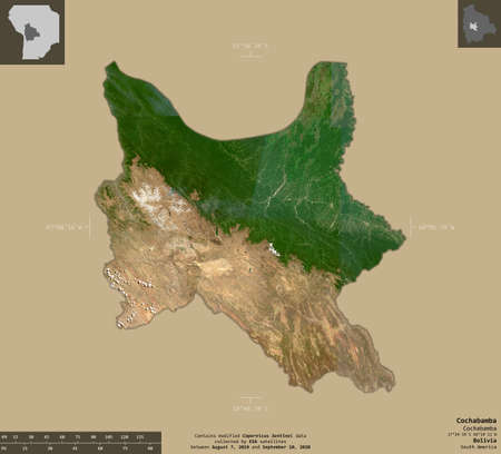 Cochabamba, department of Bolivia. Sentinel-2 satellite imagery. Shape isolated on solid background with informative overlays. Contains modified Copernicus Sentinel data