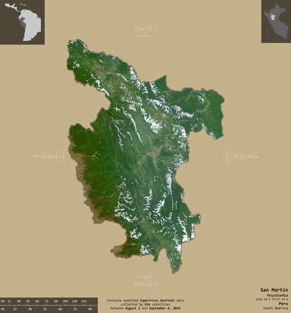 San Martin, region of Peru. Sentinel-2 satellite imagery. Shape isolated on solid background with informative overlays. Contains modified Copernicus Sentinel data