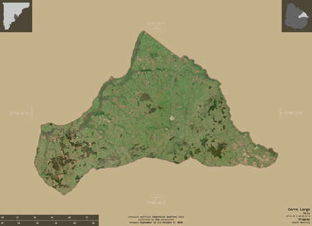 Cerro Largo, department of Uruguay. Sentinel-2 satellite imagery. Shape isolated on solid background with informative overlays. Contains modified Copernicus Sentinel data Archivio Fotografico