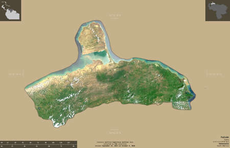 Falcon, state of Venezuela. Sentinel-2 satellite imagery. Shape isolated on solid background with informative overlays. Contains modified Copernicus Sentinel data