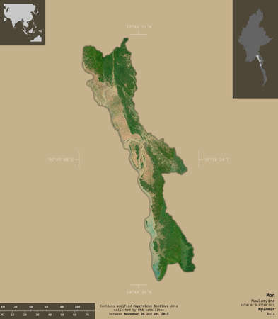 Mon, state of Myanmar. Sentinel-2 satellite imagery. Shape isolated on solid background with informative overlays. Contains modified Copernicus Sentinel data