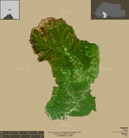 Dagana, district of Bhutan. Sentinel-2 satellite imagery. Shape isolated on solid background with informative overlays. Contains modified Copernicus Sentinel data