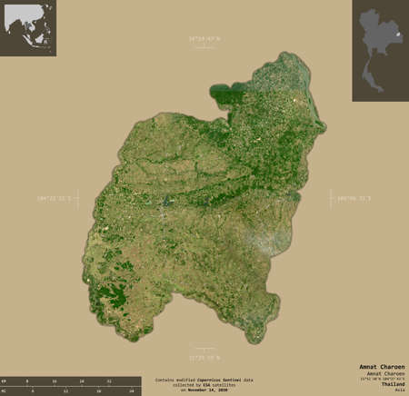 Amnat Charoen, province of Thailand. Sentinel-2 satellite imagery. Shape isolated on solid background with informative overlays. Contains modified Copernicus Sentinel data