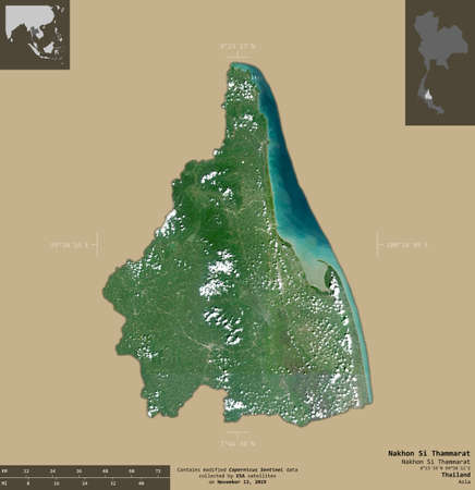 Nakhon Si Thammarat, province of Thailand. Sentinel-2 satellite imagery. Shape isolated on solid background with informative overlays. Contains modified Copernicus Sentinel data